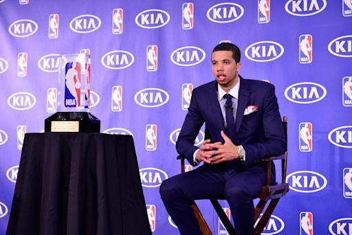 PHILADELPHIA - MAY 05: Michael Carter Williams of the Philadelphia 76ers speaks to the media as he receives the Eddie Gottlieb Trophy for the 2014 KIA NBA Rookie of the Year award during a press conference on May 5, 2014 in Philadelphia, Pennsylvania. (Photo by David Dow/NBAE via Getty Images)