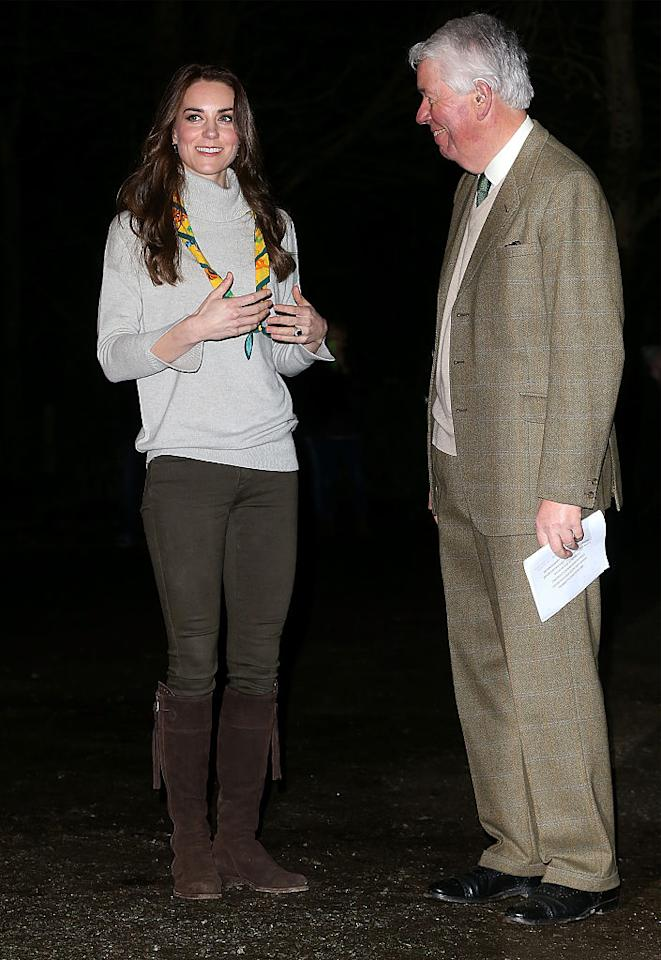 """<p>To celebrate the 100th anniversary of the Cub Scouts, the Duchess of Cambridge dressed not only to toast the organization but learn a few things too. Eschewing her typical dresses and heels, Kate Middleton wore Zara jeans, a light gray turtleneck sweater (which she accessorized with a scouting scarf), and $<a rel=""""nofollow"""" href=""""http://www.reallywildclothing.co.uk/footwear/spanish-boots-in-chocolate-suede-871814.html"""">400 brown suede boots</a> in chocolate brown with a fringe zipper that she's owned since 2013. Throughout the event, the royal learned how to tie a sling, decorated cupcakes, participated in team-building activities, and more. <i>(Photo: Getty Images)</i></p>"""
