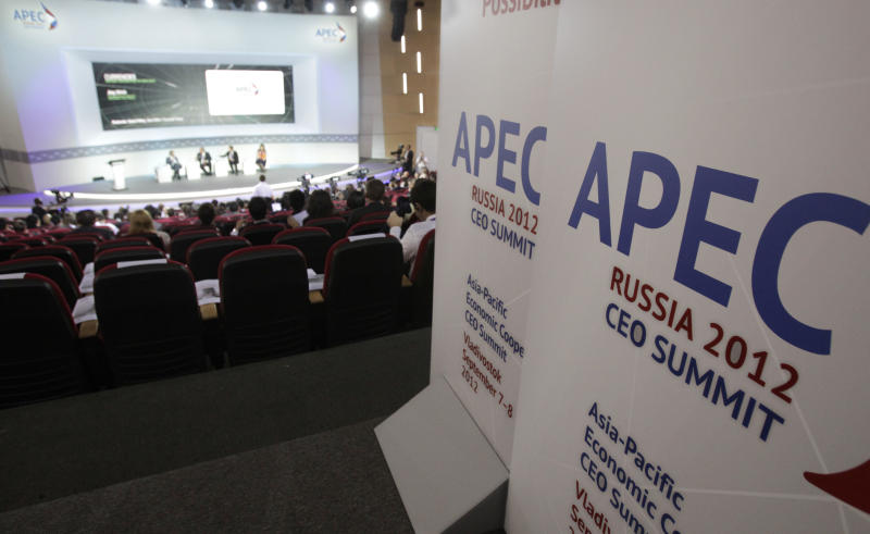 A panel of experts address delegates on the opening morning of the APEC summit in Vladivostok, Russia, Friday, Sept. 7, 2012. (AP Photo/Ahn Young-joon)
