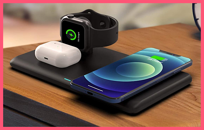 Wireless charge your iPhone, Apple Watch and Apple AirPods at the same time with just one charging station. (Photo: Amazon)