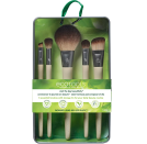 """<p><strong>EcoTools</strong></p><p>amazon.com</p><p><strong>$7.92</strong></p><p><a href=""""https://www.amazon.com/dp/B08HRHBFT7?tag=syn-yahoo-20&ascsubtag=%5Bartid%7C2141.g.37620517%5Bsrc%7Cyahoo-us"""" rel=""""nofollow noopener"""" target=""""_blank"""" data-ylk=""""slk:Shop Now"""" class=""""link rapid-noclick-resp"""">Shop Now</a></p><p>Not all brushes are easily portable due to their long handles, which is what makes this set's miniature design so great. It also has the bare minimum that <strong>won't crowd a suitcase, but can still accomplish a night-out look</strong>: a powder brush, angled liner brush, angled blender, and two eyeshadow brushes will get the job done.</p>"""