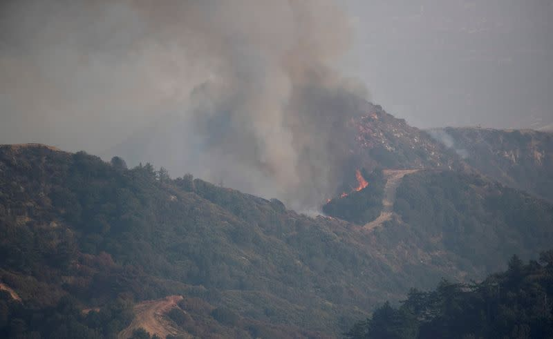 The Bobcat Fire burns near Mount Wilson Observatory in Los Angeles