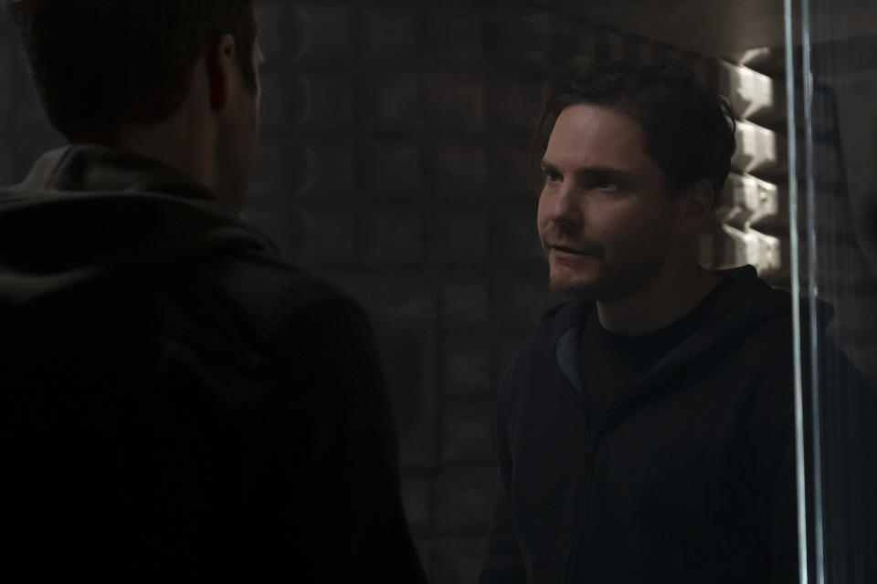 (L-R): Winter Soldier/Bucky Barnes (Sebastian Stan) and Zemo (Daniel Brühl) in Marvel Studios' THE FALCON AND THE WINTER SOLDIER exclusively on Disney+. Photo by Chuck Zlotnick. ©Marvel Studios 2021. All Rights Reserved.