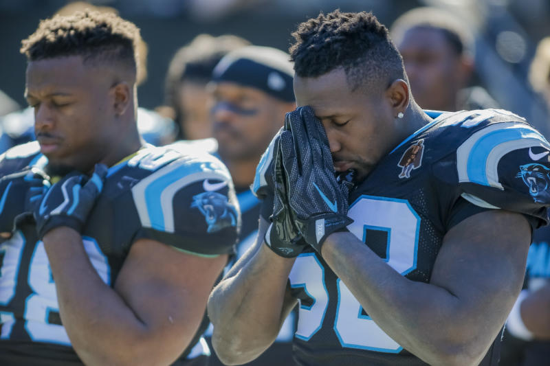 Thomas Davis (R) was suspended for a hit on Sunday. (AP)