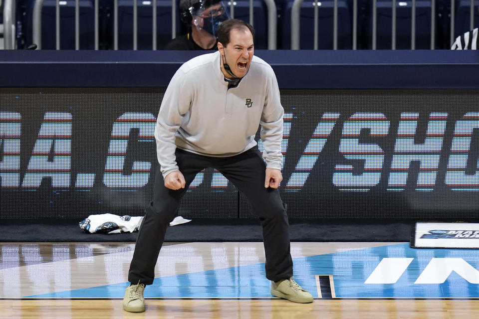 Baylor head coach Scott Drew yells instructions against Villanova in the second half of a Sweet 16 game in the NCAA men's college basketball tournament at Hinkle Fieldhouse in Indianapolis, Saturday, March 27, 2021. (AP Photo/AJ Mast)