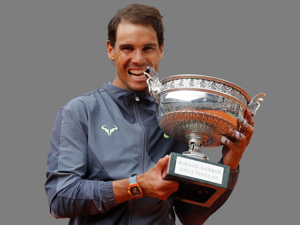 Rafael Nadal, of Spain, celebrates his record 12th French Open tennis tournament title at 2019 French Open, graphic element on gray