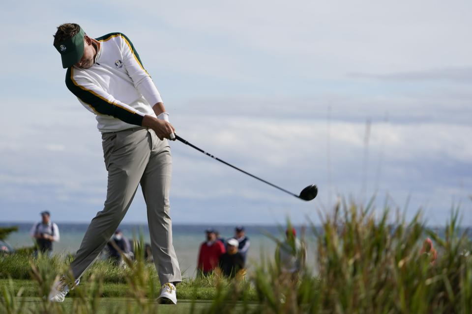 Team Europe's Ian Poulter hits a drive on the second hole during a practice day at the Ryder Cup at the Whistling Straits Golf Course Wednesday, Sept. 22, 2021, in Sheboygan, Wis. (AP Photo/Jeff Roberson)
