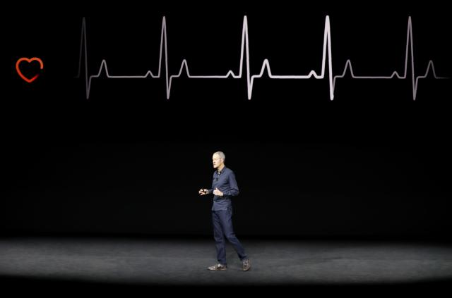 <p>Apple is partnering with Stanford to collect information about the heart rates of Apple Watch wearers. The watch will also notify the wearer if their heart rate is outside their typical resting zone when they don't seem to be doing any physical activity. REUTERS/Stephen Lam </p>