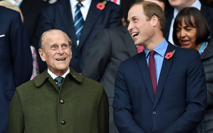 The Duke of Edinburgh and Prince William pictured at the 2015 Rugby World Cup final at Twickenham - Max Mumby/Pool/Indigo/Getty Images