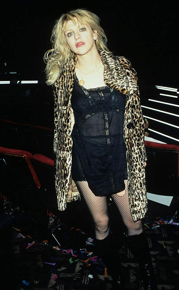 """Speaking of Kurt Cobain, his widow, Hole frontwoman Courtney Love, was undoubtedly one of the most emulated fashionistas of the era. Her purposely shabby, thrift store-bought ensembles will forever define the Hollywood-goes-grunge scene. Kevin Mazur/Jason Nevader/<a href=""""http://www.wireimage.com"""" target=""""new"""">WireImage.com</a> - September 7, 1995"""