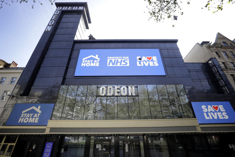 The Odeon Cinema in Leicester Square in London, Thursday, April 16, 2020. (AP Photo/Kirsty Wigglesworth)