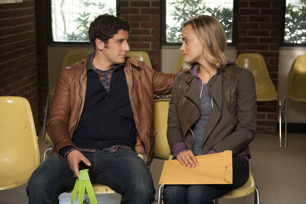"Jason Biggs and Taylor Schilling in a scene from Netflix's ""Orange is the New Black."""