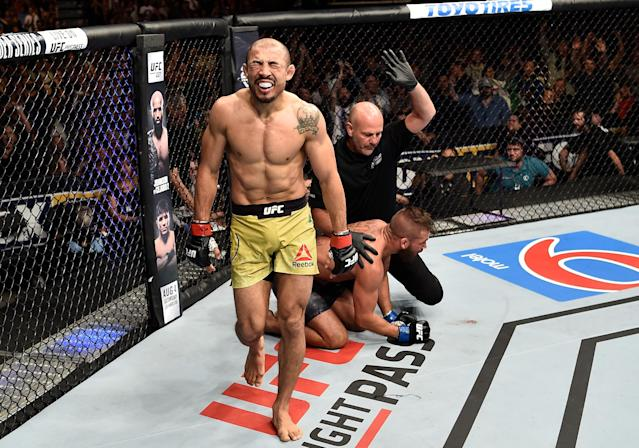 Jose Aldo knocked out Jeremy Stephens at 4:19 of the first round (Getty Images)
