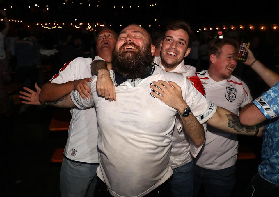 Fans at the Vinegar Yard in London watch the Euro 2020 semi final match between England and Denmark (PA Wire)