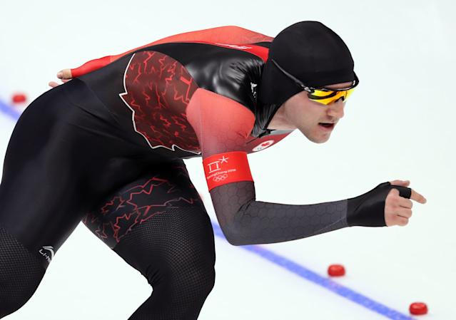 Speed Skating - Pyeongchang 2018 Winter Olympics - Men's 1000m competition finals - Gangneung Oval - Gangneung, South Korea - February 23, 2018 - Vincent de Haitre of Canada competes. REUTERS/Lucy Nicholson
