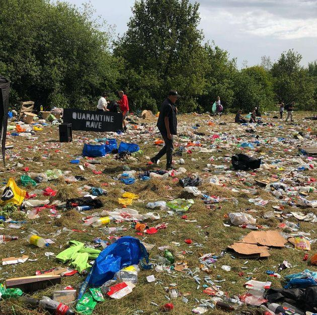 The mess left behind following a rave at Daisy Nook Park in Manchester following an illegal rave.