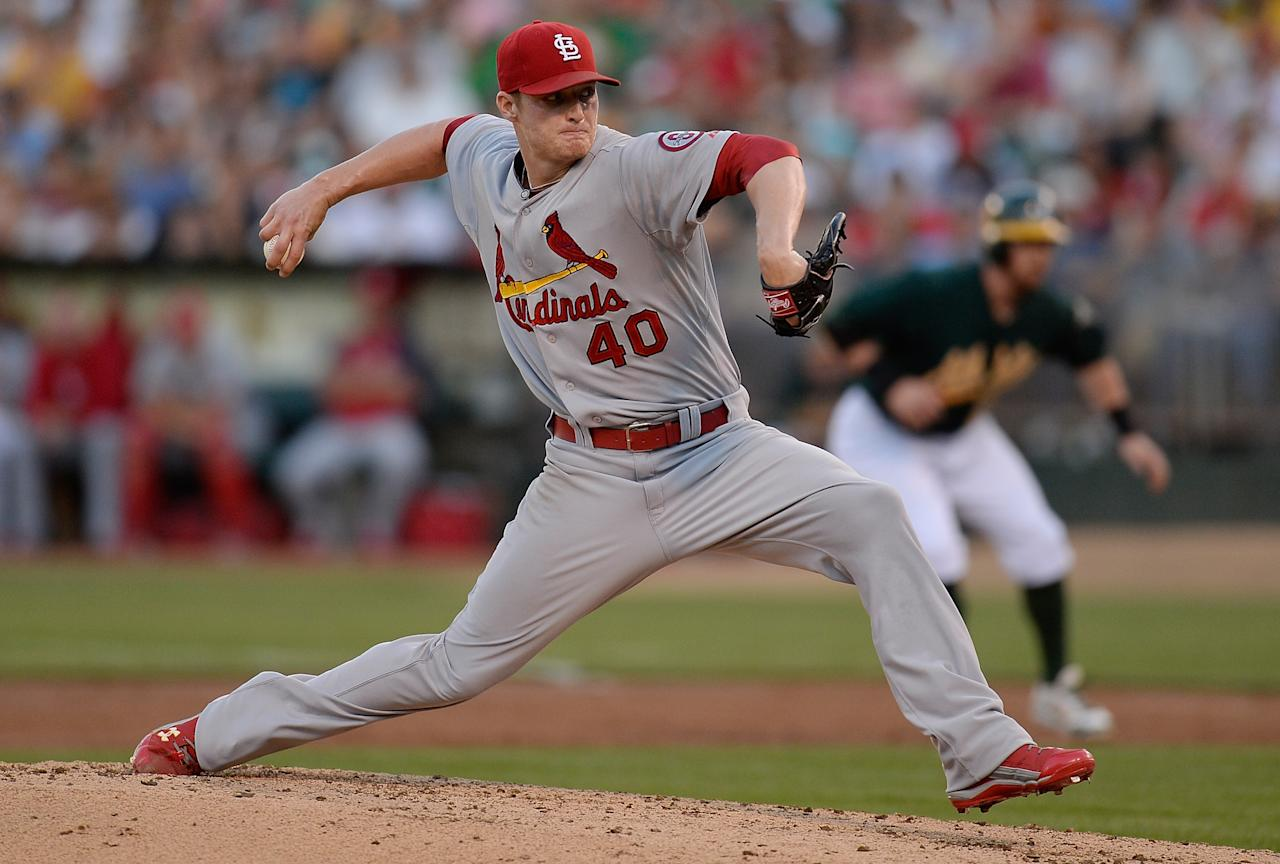 OAKLAND, CA - JUNE 28: Shelby Miller #40 of the St. Louis Cardinals pitches against the Oakland Athletics at O.co Coliseum on June 28, 2013 in Oakland, California. (Photo by Thearon W. Henderson/Getty Images)