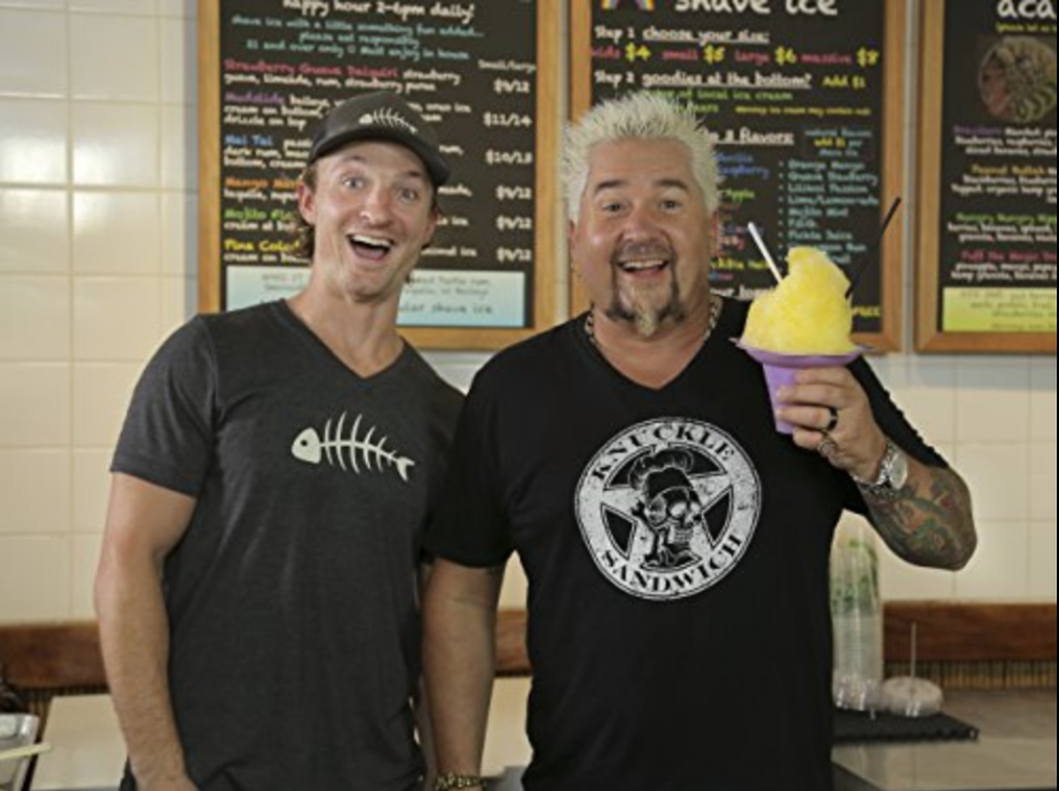 "<p>In what some may call a badge of honor for being featured on <em>Diners, Drive-Ins and Dives</em>, Guy <a href=""https://www.thrillist.com/eat/nation/guy-fieri-diners-drive-ins-dives-behind-scenes"" rel=""nofollow noopener"" target=""_blank"" data-ylk=""slk:leaves behind a stencil"" class=""link rapid-noclick-resp"">leaves behind a stencil</a> of his head that says ""Guy Fieri Ate Here"" at every restaurant.</p>"
