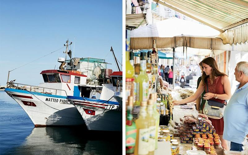 From left: Boats in the harbor of Trapani; shopping for local produce at Palermo's Mercato del Capo.