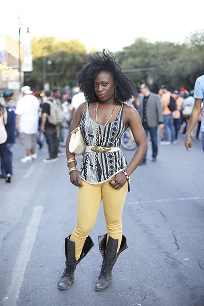 You are our sunshine - What do you get when you combine sunny yellow skinnies, a graphic-printed tank, oodles of gold jewelry, and combat boots? One of our favorite looks from SXSW.