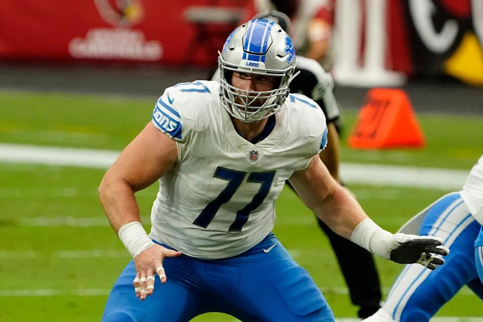 FILE - Detroit Lions center Frank Ragnow (77) plays during an NFL football game against the Arizona Cardinals in Glendale, Ariz., in this Sunday, Sept. 27, 2020, file photo. The Detroit Lions have signed Pro Bowl center Frank Ragnow to a $54 million, four-year extension that keeps him under contract through the 2026 season. The team announced the deal Friday, May 7, 2021, investing in one of the franchise's building blocks under general manager Brad Holmes and coach Dan Campbell.(AP Photo/Rick Scuteri)
