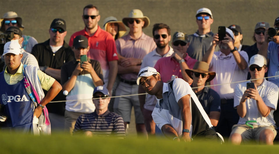 Hideki Matsuyama, of Japan, chips to the 18th hole during the second round of the PGA Championship golf tournament on the Ocean Course Friday, May 21, 2021, in Kiawah Island, S.C. (AP Photo/Chris Carlson)