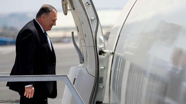 PHOTO: Secretary of State Mike Pompeo enters the plane before departing from the Addis Ababa Bole international Airport in Addis Ababa on Feb. 19, 2020. (AFP via Getty Images, FILE)