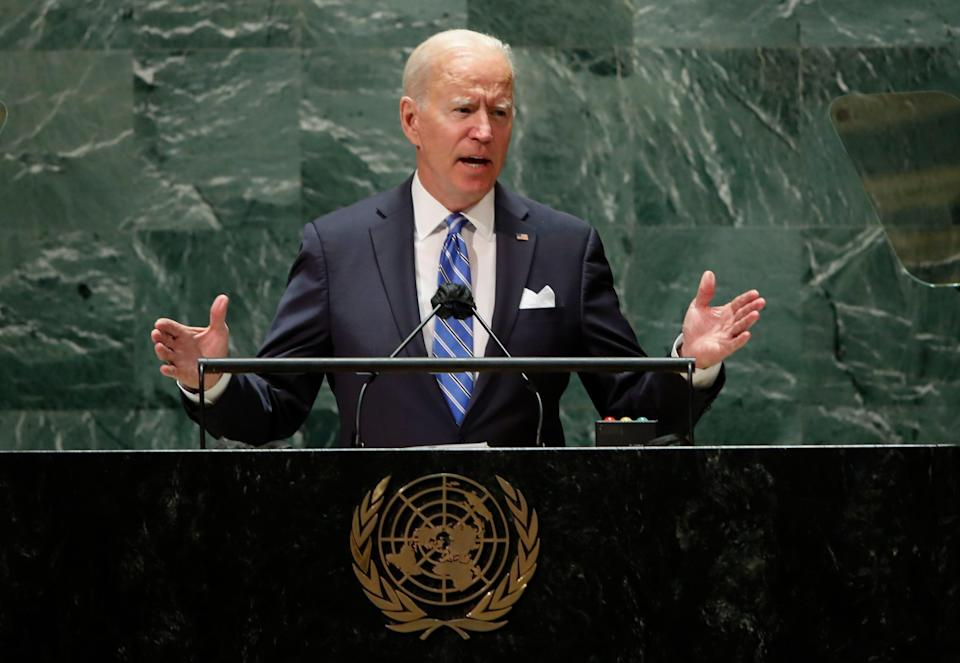 """""""Our security, our prosperity and our very freedoms are interconnected as never before,""""  President Joe Biden tells the 76th session of the U.N. General Assembly in New York on Sept. 21."""