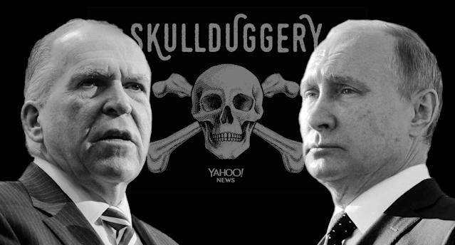 John Brennan, Vladimir Putin (Photo illustration: Yahoo News; photos: Andrew Harnik/AP, Sputnik/Mikhail Klimentyev via Reuters)