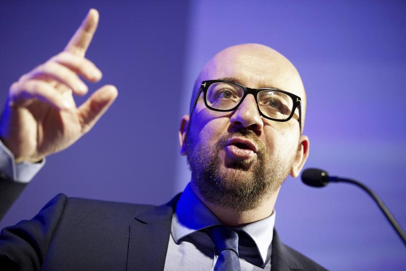 Then-MR Chairman Charles Michel delivers a speech at a party congress on February 8, 2014, in Brussels (AFP Photo/Nicolas Maeterlinck)