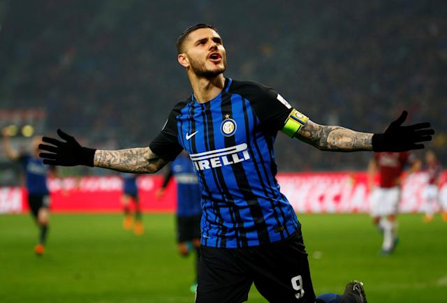 Soccer Football - Serie A - AC Milan v Inter Milan - San Siro, Milan, Italy - April 4, 2018 Inter Milan's Mauro Icardi celebrates scoring a goal which is later disallowed upon a VAR (Video Assistant Referee) review REUTERS/Tony Gentile