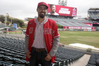Los Angeles Angels' Anthony Rendon poses for a photograph after a baseball news conference in Anaheim, Calif., Saturday, Dec. 14, 2019. Rendon and the Angels agreed to a $245 million, seven-year contract earlier in the week. (AP Photo/Alex Gallardo)