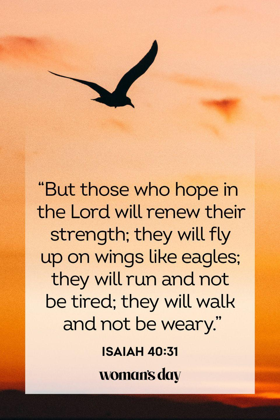 """<p>""""But those who hope in the Lord will renew their strength; they will fly up on wings like eagles; they will run and not be tired; they will walk and not be weary.""""</p><p><strong>The Good News:</strong> For those who have faith that the Lord watches over them shall have the strength to overcome fear.</p>"""