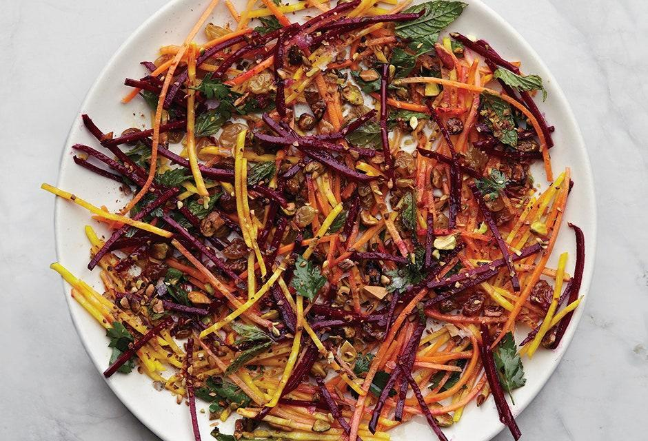 "Chef Joshua McFadden always dresses his salads with the acidic components first so the produce can absorb some of those flavors before being coated with oil. <a href=""https://www.bonappetit.com/recipe/carrot-and-beet-slaw-with-pistachios-and-raisins?mbid=synd_yahoo_rss"" rel=""nofollow noopener"" target=""_blank"" data-ylk=""slk:See recipe."" class=""link rapid-noclick-resp"">See recipe.</a>"
