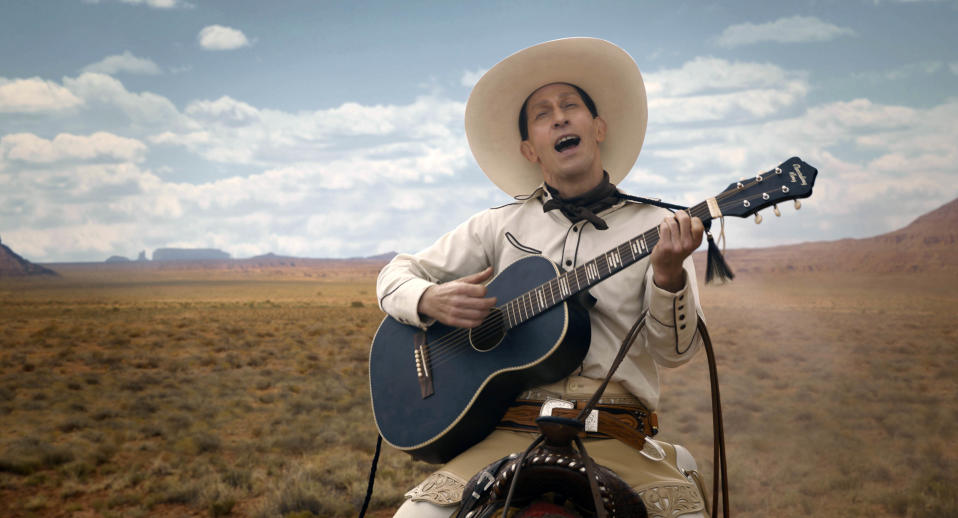"""Tim Blake Nelson in a scene from """"The Ballad of Buster Scruggs,"""" a film by Joel and Ethan Coen streaming on Netflix. (Netflix via AP)"""