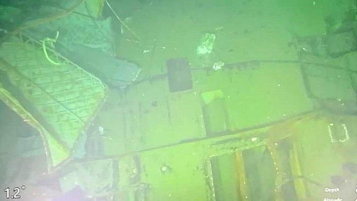 Video recorded from a submarine rescue vehicle of the Indonesian Navy submarine KRI Nanggala during a press conference in Bali, Indonesia on April 25, 2021.