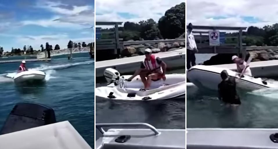 shots from the video posted on YouTube of the boat rage