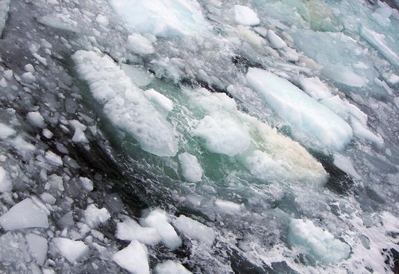 The sea surface above the East Siberian Arctic Shelf is full of ice and bubbles.