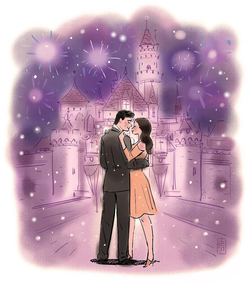 "<p>Stamos clearly shares his fiancée's passion for Disney. ""I asked … she said yes! … And we lived happily ever after,"" the actor captioned a cartoon photo of, presumably, himself and McHugh in front of Cinderella's famed castle. (Photo: John Stamos via Instagram) </p>"