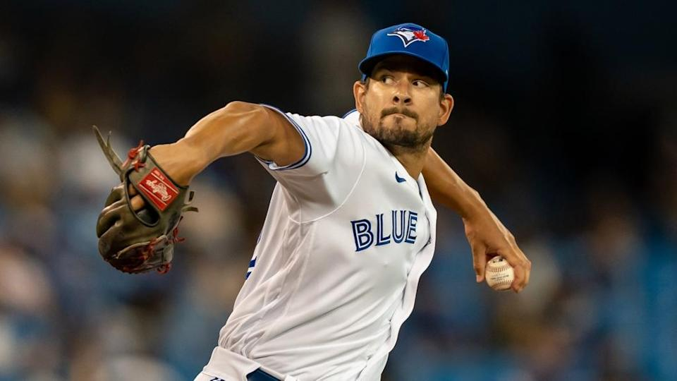 Brad Hand pitching with Blue Jays 2021