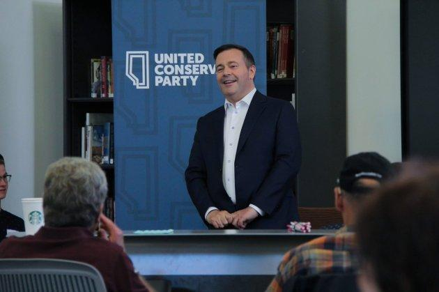 United Conservative Party Leader Jason Kenney addresses supporters at an even in Calgary Lougheed on May 15, 2018.