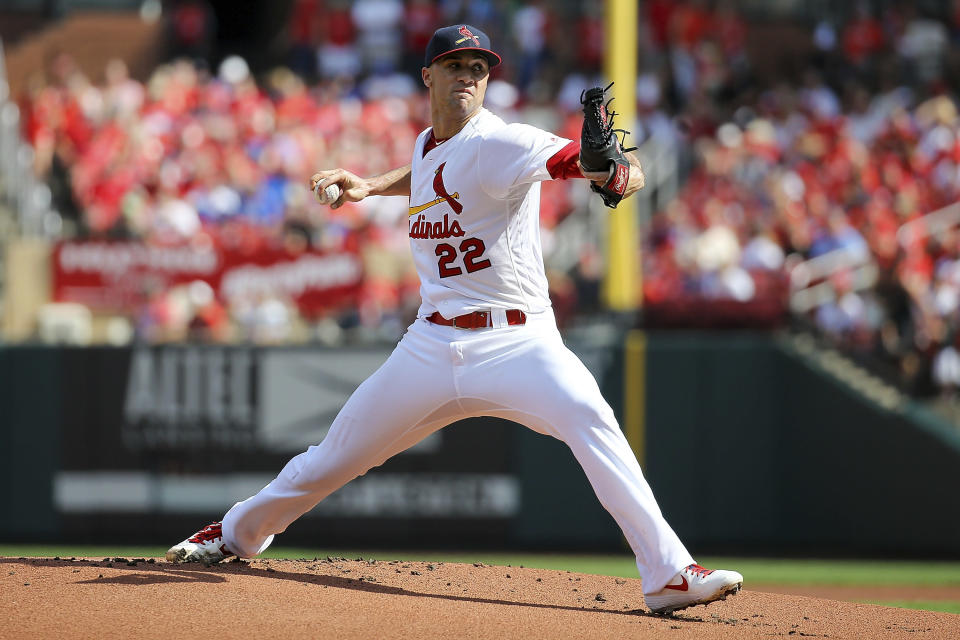 St. Louis Cardinals starting pitcher Jack Flaherty delivers during the first inning of a baseball game against the Chicago Cubs, Sunday, Sept. 29, 2019, in St. Louis. (AP Photo/Scott Kane)