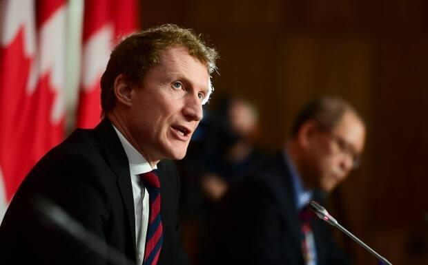 Minister of Indigenous Services Marc Miller at a news conference in Ottawa in March. He spoke recently with CBC Indigenous about the 2021 federal budget. (Sean Kilpatrick/Canadian Press - image credit)