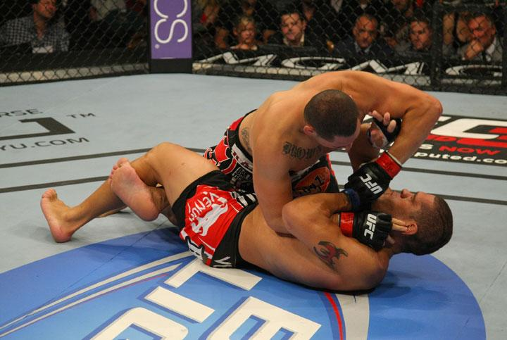 LAS VEGAS, NV - MAY 26:  Cain Velasquez (top) elbows Antonio Silva during a heavyweight bout at UFC 146 at MGM Grand Garden Arena on May 26, 2012 in Las Vegas, Nevada.