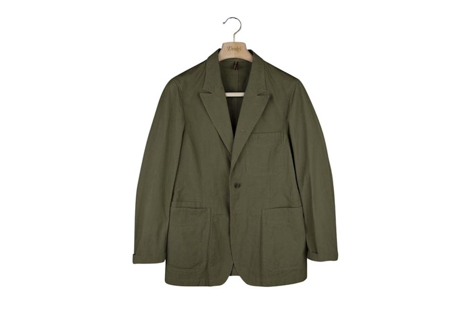 """$795, Drake's. <a href=""""https://www.drakes.com/usa/what-s-new/olive-cotton-ripstop-games-blazer-mk-ii"""" rel=""""nofollow noopener"""" target=""""_blank"""" data-ylk=""""slk:Get it now!"""" class=""""link rapid-noclick-resp"""">Get it now!</a>"""