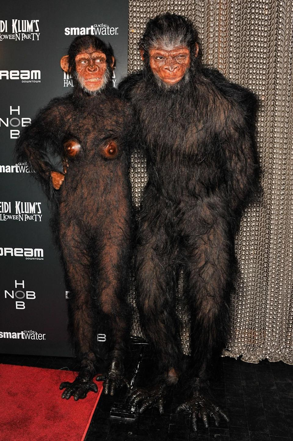 <p>At her second Halloween bash of the year, Klum and then husband Seal went as a simian couple, with an unsettling degree of anatomical correctness. (Photo: Getty Images) </p>