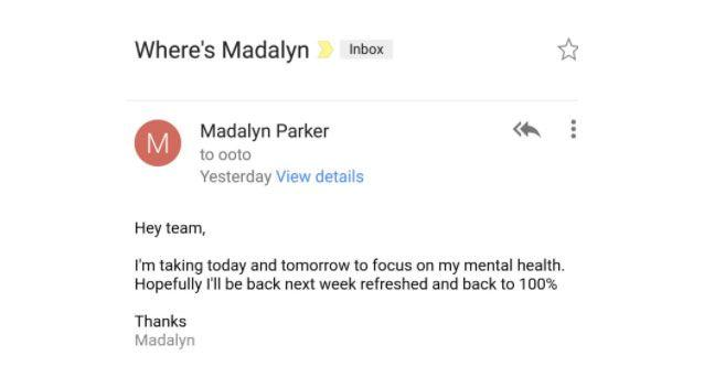Ms Parker sent an email to her boss, telling him she was taking two mental health days. Photo: Twitter/ Madalynrose