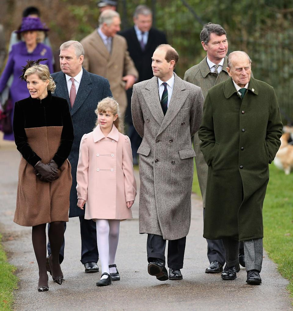 Prince William, Prince Philip, Duchess of Cambridge, Meghan Markle and Prince Harry attend Christmas Day Church service at Church of St Mary Magdalene on  25 December 2017 in King's Lynn, England.Getty Images