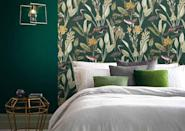 """<p>Choosing a bold wallpaper is a great green bedroom idea as you can create a focal point or statement area (for instance over a chimney breast or in an alcove) without overpowering the room. </p><p>This gorgeous wallpaper by Graham and Green combines a deep green background with a sophisticated woodland print.</p><p><strong>Graham and Green Glasshouse Green Wallpaper <a href=""""https://www.grahambrown.com/uk/glasshouse-green-wallpaper/111719-master.html"""" rel=""""nofollow noopener"""" target=""""_blank"""" data-ylk=""""slk:£65 per 10m roll"""" class=""""link rapid-noclick-resp"""">£65 per 10m roll</a></strong></p>"""