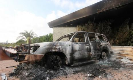 A burnt car at the U.S. consulate in Benghazi after an attack on Sept. 11: The State Department has revealed that the violence wasn't sparked by protests against an anti-Islam film after all.